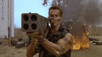 Commando John Matrix Rocket launcher four barrel carnage moustache guy multipl deaths