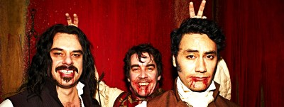 What we Do In The Shadows Trio Taika Waititi, Jemaine Clement, Jonathan Brugh, Ben Fransham, Jackie Van, Cori Gonzalez-Macuer, Stu Rutherford, Rhys Darby, Ethel Robinson