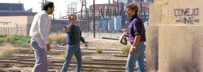 To Live and Die in LA holdup William Friedkin, William Petersen, Willem Dafoe, John Pankow, Michael Greene, Debra Feuer, John Turturro, Darlanne Fluegel, Dean Stockwell, Robert Downey, Sr., Steve James